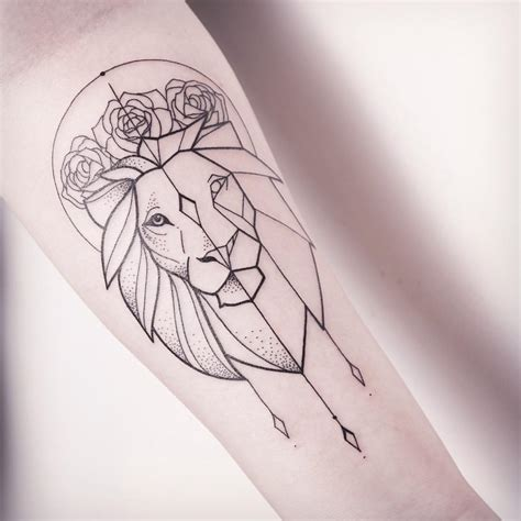 lion outline tattoo feminine outline on forearm