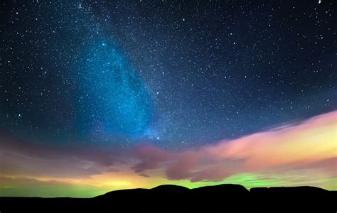 northern lights sky stars wallpaper nature