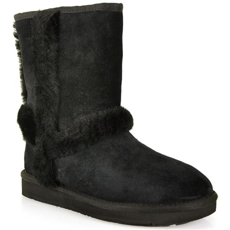 ugg boots black lyst ugg suede shearling boot in black