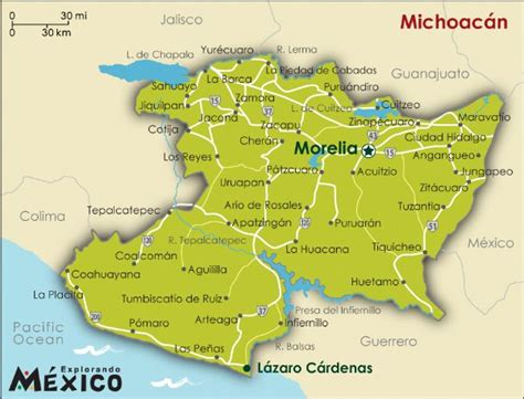 map of michoacan mexico state maps image gallery michoacan state