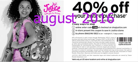 justice printable coupon august free printable coupons justice for girls coupons