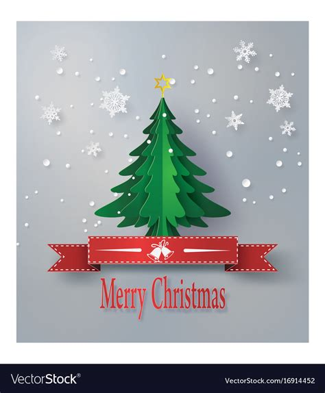 merry origami merry greeting card with origami vector image