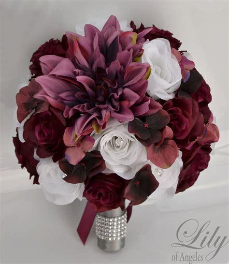 17piece package silk flower wedding bridal bouquet plum marsala sangria burgundy ebay