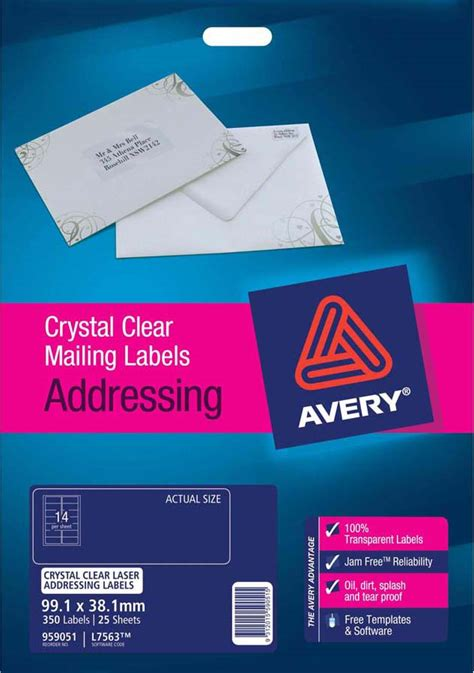 clear printable address labels avery 174 crystal clear address labels l7563 25 avery