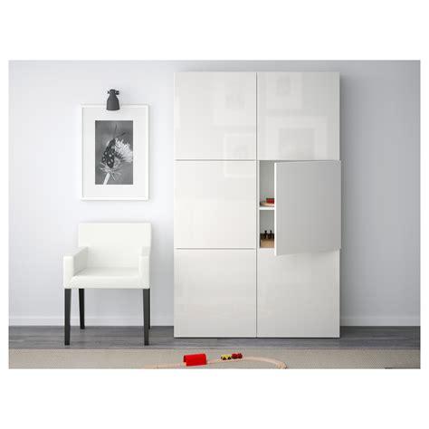 white ikea besta best 197 storage combination with doors white selsviken high gloss white 120x40x192 cm ikea