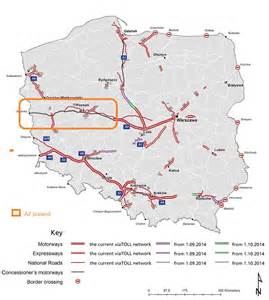 map of toll roads in a2 poland multi service tolls