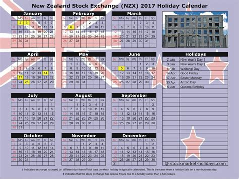 Calendar 2017 Excel Nz New Zealand Stock Exchange 2017 2018 Holidays Nzx