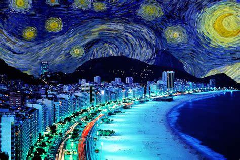 Contemporary Farmhouse by Rio De Janeiro Brazil Starry Night Skyline Canvas P