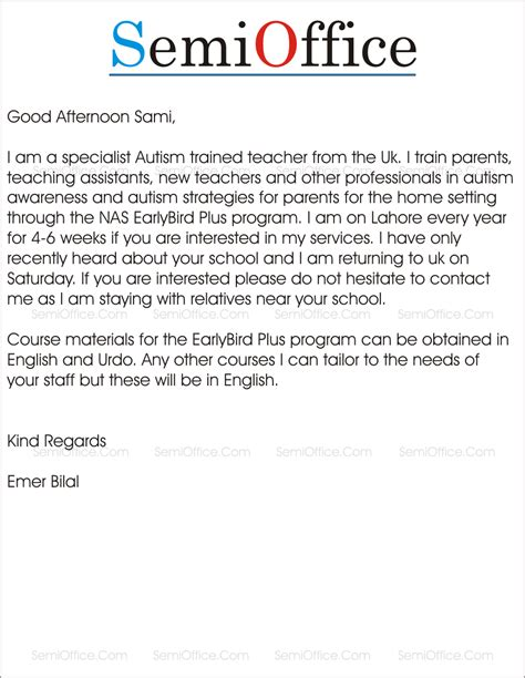 training proposal letter letter for program