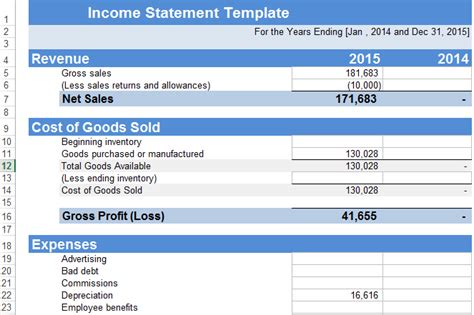 restaurant income statement template excel income statement template excel xls exceltemple