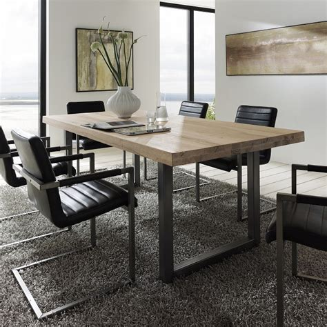 metal dining room tables textured up treviso solid oak metal dining table