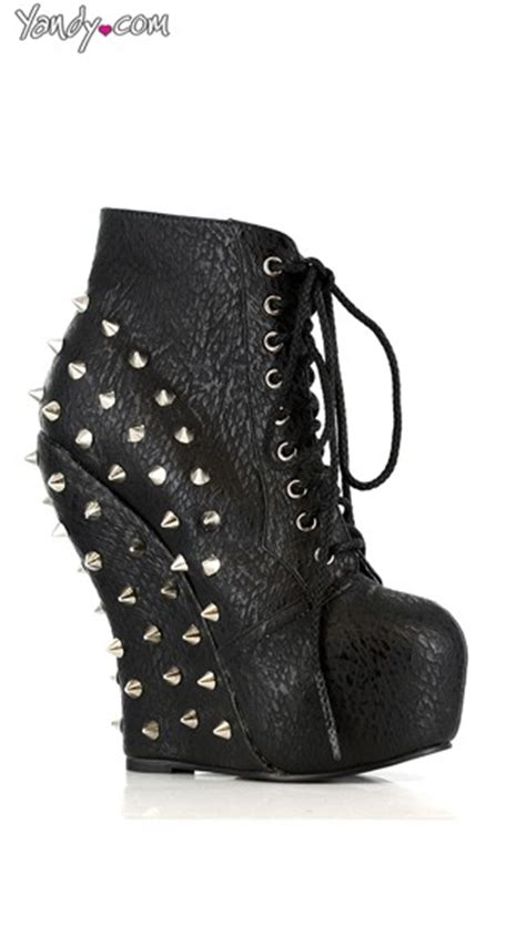 Lace Up Studded Platform Shoes studded lace up wedge ankle bootie wedge shoes studded