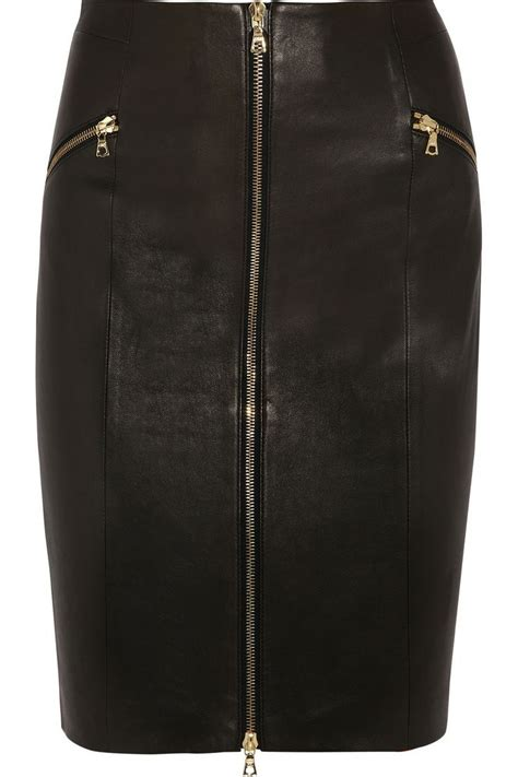 maxine zip front leather skirt