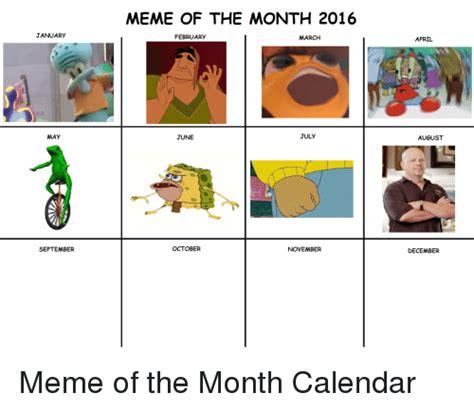 Meme Calendar 2016 - january may september meme of the month 2016 february