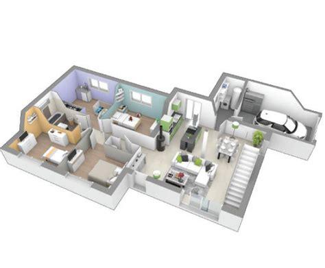 Garage Plans by Maison Plain Pied 4 Chambres Avec Mezzanine Au Fil De L Eau