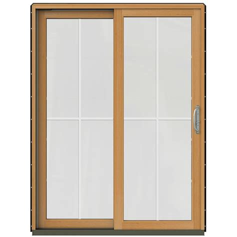 Wood Sliding Patio Door Jeld Wen 59 1 4 In X 79 1 2 In W 2500 Black Prehung Left Clad Wood Sliding Patio Door