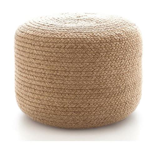 braided pouf ottoman braided natural indoor outdoor revibe designs
