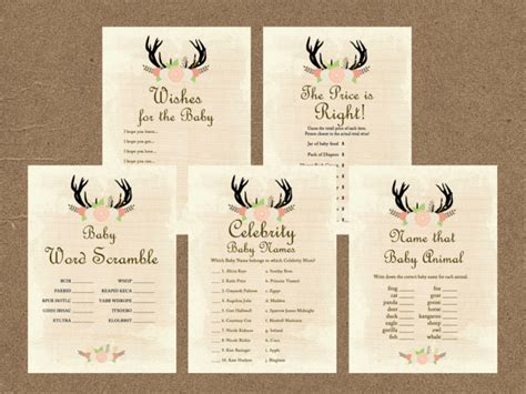 printable rustic bridal shower games rustic antlers baby shower game pack magical printable