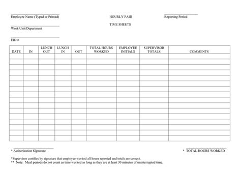 hourly employee timesheet template hourly timesheet in word and pdf formats
