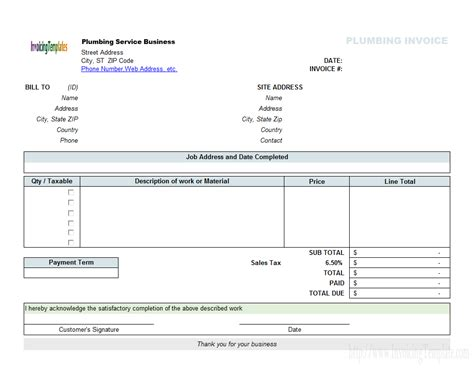 %name free service agreement template   Plumbing Contractor Invoice Template