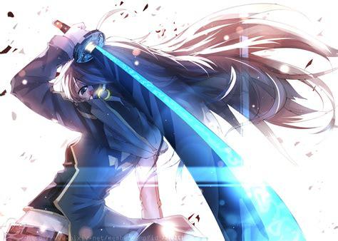 wallpaper anime girl sword anime girls long hair sword light anime wallpaper