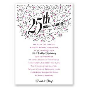 Invitation Letter 25th Wedding Anniversary Forever Filigree 25th Anniversary Invitation Invitations By