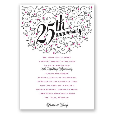 25th anniversary invitation card templates forever filigree 25th anniversary invitation invitations