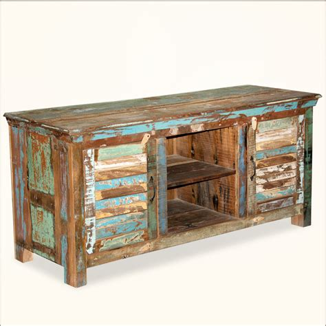 rustic shutter doors reclaimed wood tv stand media