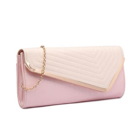 Pink Clutch lt1674 miss lulu quilted leather look envelope clutch