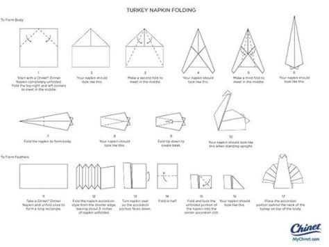 printable origami turkey instructions napkin folding instructions creative napkin folds for