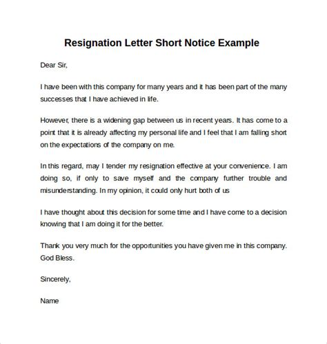 Business Letter Exle Resignation Sle Resignation Letter Notice 6 Free Documents In Word Pdf