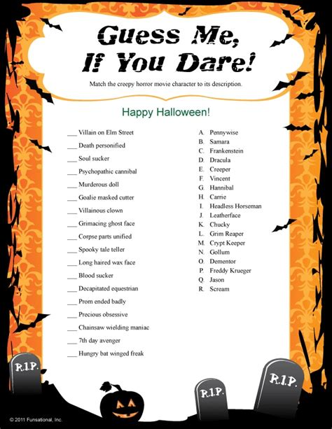 printable games halloween guess me if you dare halloween game holidays