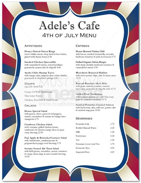 4th of july menu template july 4th menu page 1