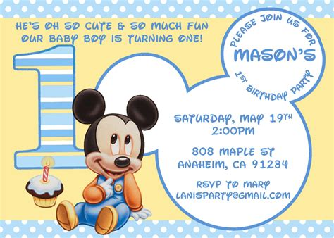 mickey mouse birthday card template baby mickey mouse matches mickey s 1st supplies