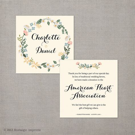 Wedding Favors Cards by Items Similar To 50 Wedding Favor Donation Cards In Lieu