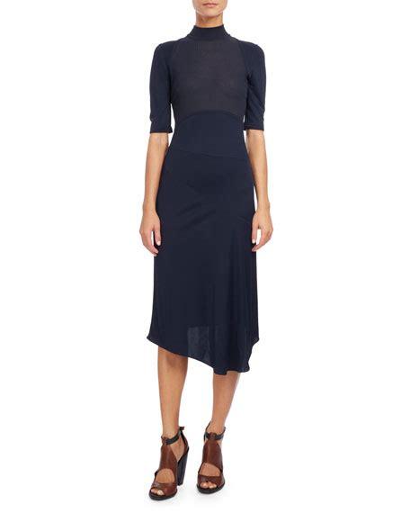 Mock Neck Sleeve Midi Dress atlein mock neck half sleeve midi dress navy