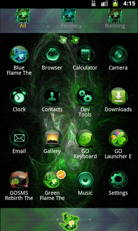 free themes for android white green flame go theme free apk android app android freeware