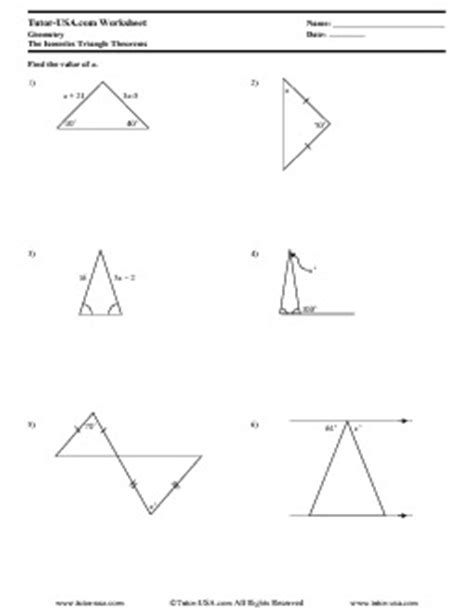 isosceles triangle worksheet worksheet isosceles triangles theorems and properties geometry printable