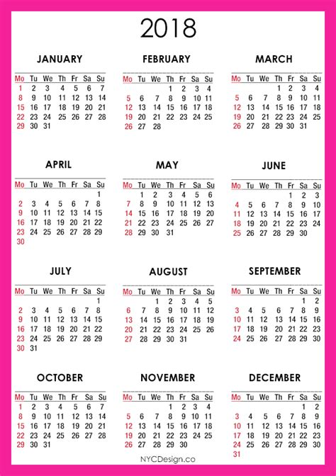 2015 12 Month Calendar Printable One Page