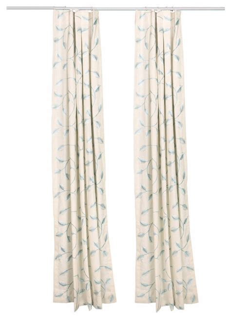 single pleat drapes pinch pleat drapes embroidered blue vines single panel