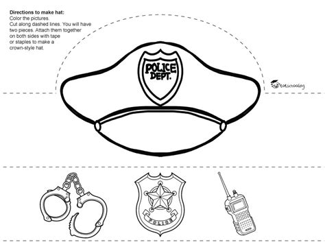policeman hat coloring page police officer hat coloring pages