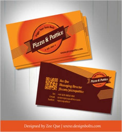 food card template free fast food business card template vector free