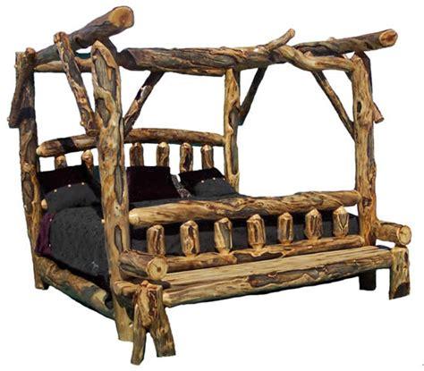 Log Canopy Bed, Cabin Furniture, Massive Logs, Custom Made