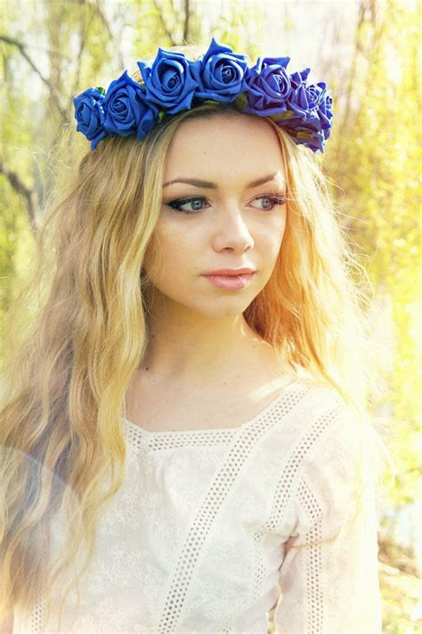 Hairband With Crown A42777 Blue royal blue flower crown festival wear halo