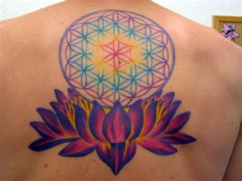 flower of life lotus rainbow tattoo wicca pagan