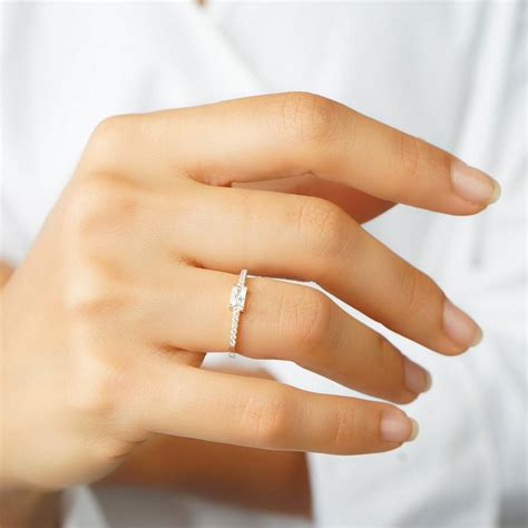 minimalist wedding rings baguette gold ring cz ring engagement ring cz gold