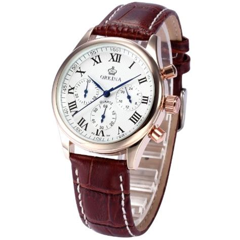 Swiss Army Chronograph Sa8912 Rosegold Black Brown orkina gold stainless steel chronograph brown leather men s wrist new ork152 e