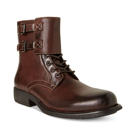 madden boots steve madden pello motorcycle boots in brown for lyst