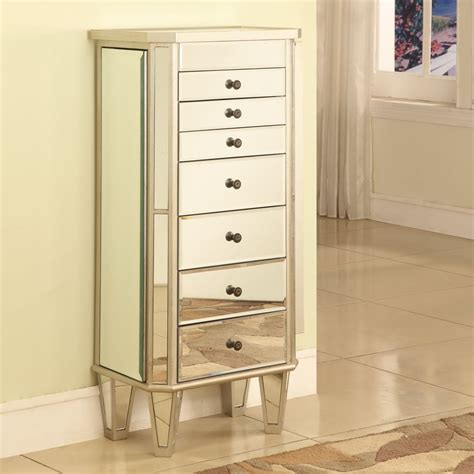 mirror jewelry box armoire mirrored jewelry armoire with silver wood finish jewelry