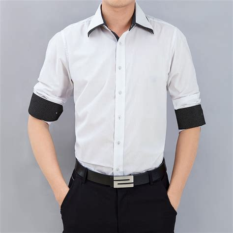 Kemeja Pria Lengan Panjang Hitam Pekat Kerah Shanghai Kantor Casual mens kemeja kasual putih merah muda hitam lengan panjang katun dua kerah camisas blusa